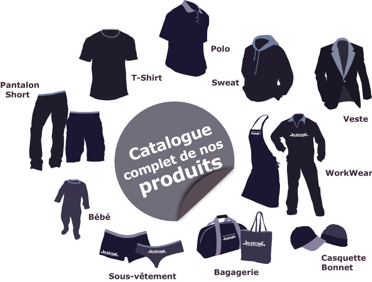 Catalogue complet de nos produits : t-shirt, polo, sweat, veste, pantalon, short, work wear, casquette, bonnet, bagagerie, sous-vêtement, bébé
